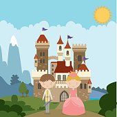 Once Upon a Time Fairytale Illustration. Image comes grouped separately on different layers. Background, Castle, Prince, Princess and Foliage each have their own layers for easy editing.