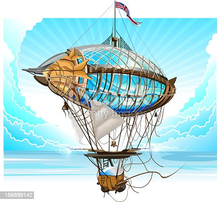 Airship in flight against a blue sky. 10 EPS file with transparency effects and overlapping colors.