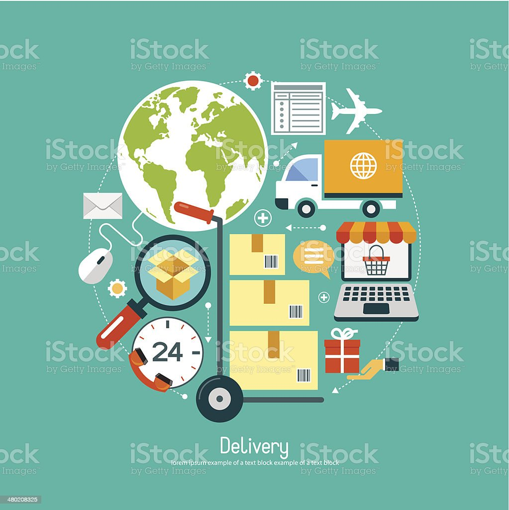 Сoncept e-commerce with set  delivery icons. vector art illustration