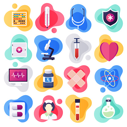 Oncology & Clinical Pharmacology Flat Liquid Style Vector Icon Set