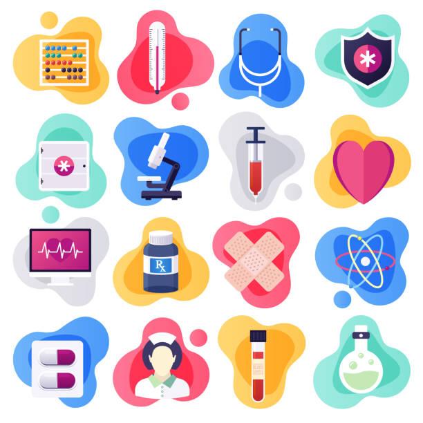 ilustraciones, imágenes clip art, dibujos animados e iconos de stock de oncología y farmacología clínica plana vector de estilo líquido icono conjunto - oncología