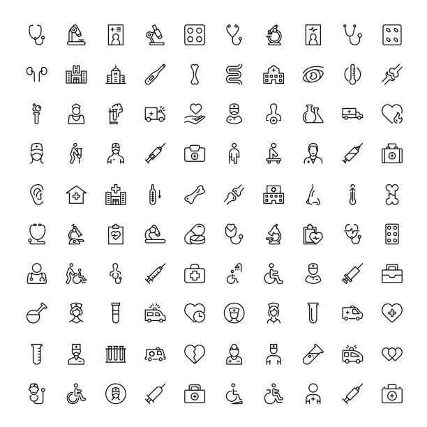 ilustraciones, imágenes clip art, dibujos animados e iconos de stock de conjunto de iconos planos de oncología - exámenes médicos
