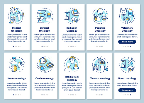 Oncology onboarding mobile app page screen with concepts. Illness treatment walkthrough steps graphic instructions. Ocular cancer. Medical oncology. UI vector template with RGB color illustrations