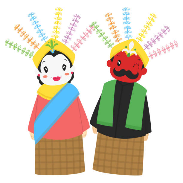ondel-ondel, 인도네시아 거 대 한 꼭두각시 만화 벡터 - 자카르타 stock illustrations