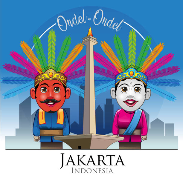 Best National Monument Indonesia Illustrations, Royalty