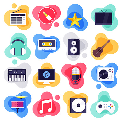 On-demand Services & Music Industry Flat Liquid Style Vector Icon Set