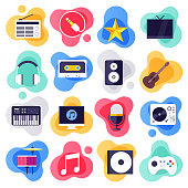 On-demand services and music industry liquid flat flow style concept symbols. Flat design vector icons set for infographics, mobile and web designs.