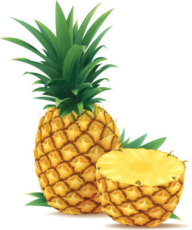 One and a half pineapple. The pineapple in the back is complete. Layered EPS10 file with transparency in 2 shadows on the pineapple (2 extra layers) that can be turned off. Included: EPS10, AI10, PDF, PNG with transparent background and large JPG (43 high, 300 dpi)
