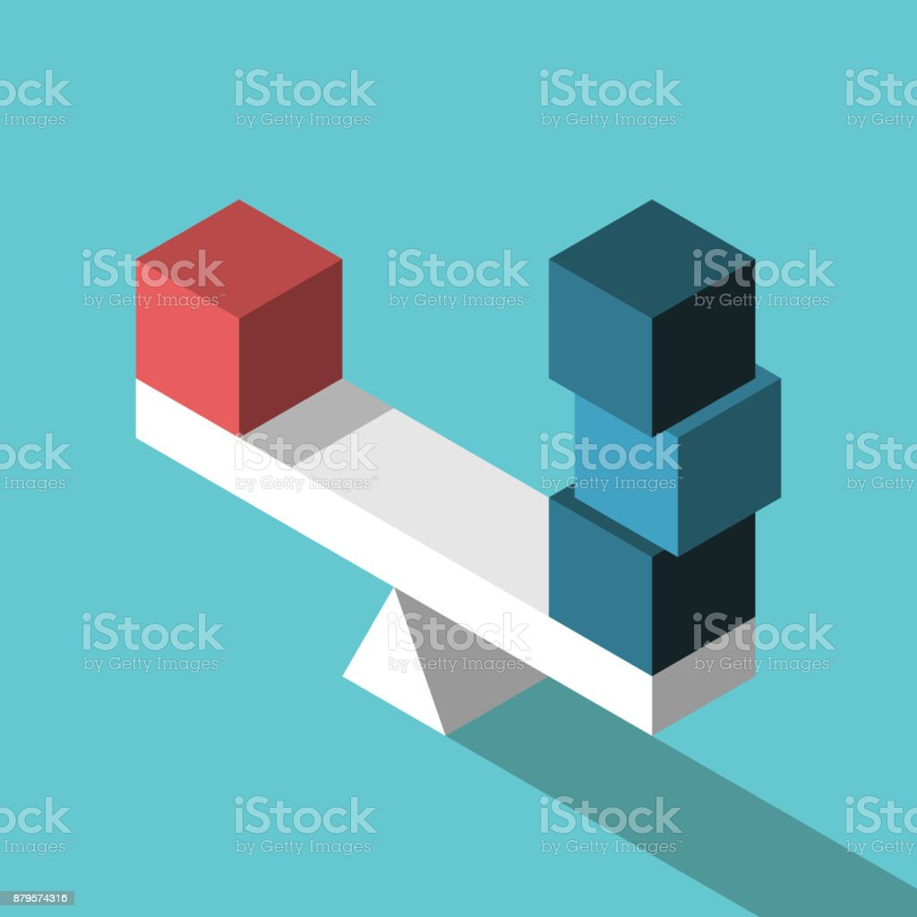 One and three, equilibrium vector art illustration