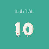One and zero, funny numbers are friends forever. Vector graphics