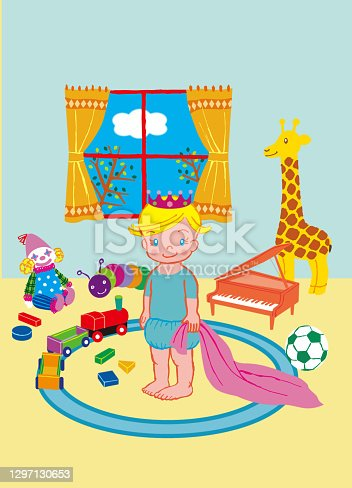 istock One baby is standing surrounded by toys. 1297130653