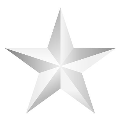 one beautiful decorative silver star isolated on white,vector illustration