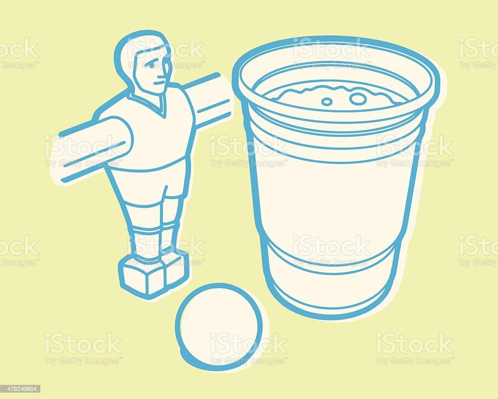 1 bière et baby-foot - Illustration vectorielle