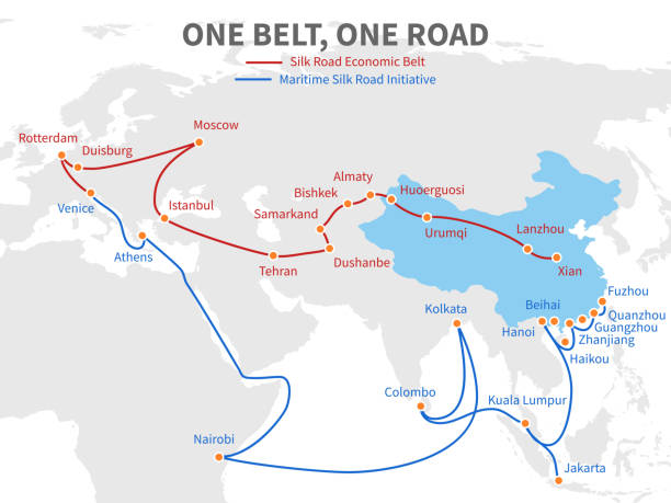 One belt - one road chinese modern silk road. Economic transport way on world map vector illustration One belt - one road chinese modern silk road. Economic transport way on world map vector illustration. Transit roadmap, shipping european and eurasia distant eurasia stock illustrations