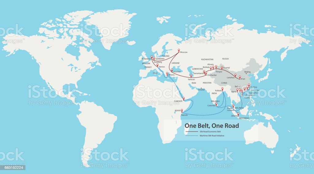 One Belt, One Road, Chinese strategic investment in the 21st century map vector art illustration