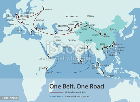 istock One Belt, One Road, Chinese strategic investment in the 21st century map 683155600