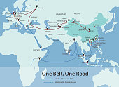 One Belt, One Road, Chinese strategic investment in the 21st century chart map, vector
