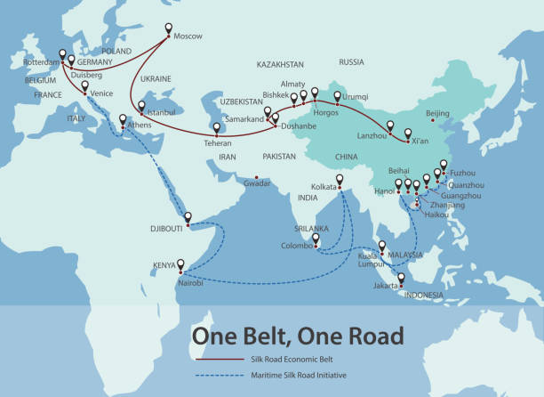 one belt, one road, chinese strategic investment in the 21st century map - china map stock illustrations, clip art, cartoons, & icons