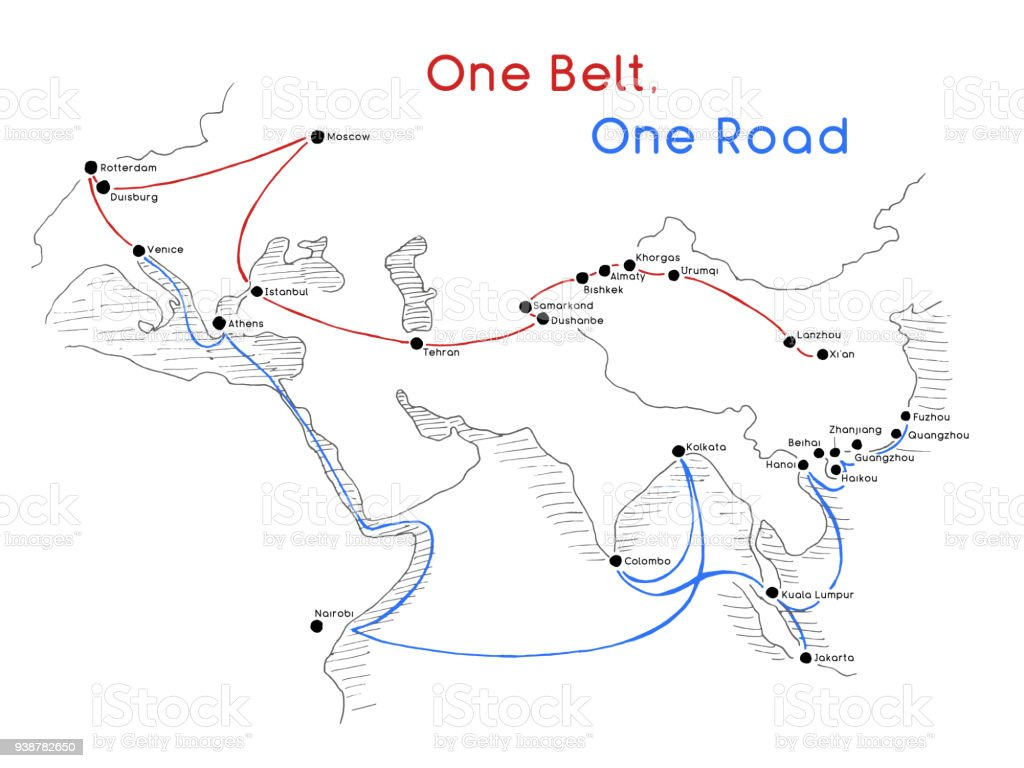 'One Belt One Road' new Silk Road concept. 21st-century connectivity and cooperation between Eurasian countries. Vector illustration. vector art illustration