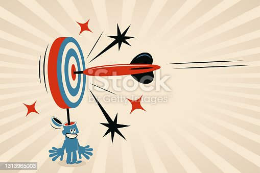 istock One big dart is hitting the Bull's-Eye of the dartboard (which is a metaphor for the human brain, mind, thought), concept about: effective communication, precision marketing, customer-focused, mind-reading, target market 1313965003