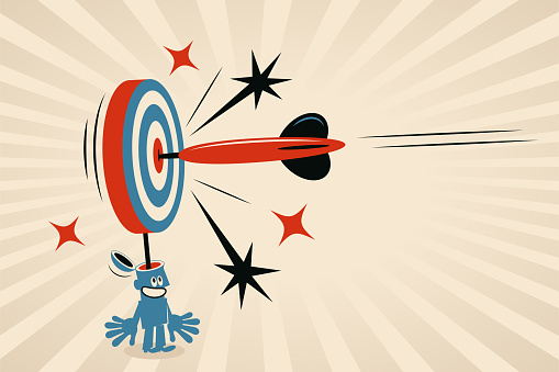One big dart is hitting the Bull's-Eye of the dartboard (which is a metaphor for the human brain, mind, thought), concept about: effective communication, precision marketing, customer-focused, mind-reading, target market