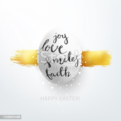 istock One big Easter Egg in the middle of white square paper background - vector illustration with handwritten text on the object - joy love smiles faith and HAPPY EASTER wishes under - design in shades of white and gold 1209853488