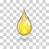 One big yellow drop on transparent background with shadow