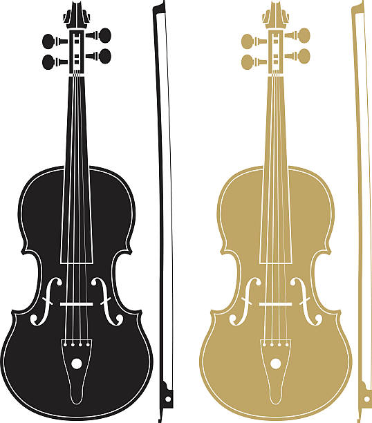 stockillustraties, clipart, cartoons en iconen met one black and one gold violin with matching bows - viool