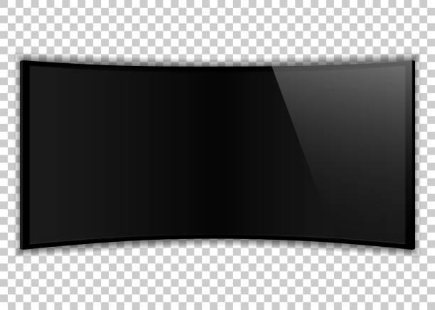 ilustrações de stock, clip art, desenhos animados e ícones de one black realistic tv screen. large computer monitor display mockup. blank television template on transparent background. - led painel