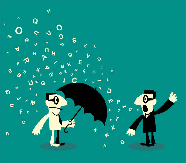 One bored man holding a umbrella and another verbose man talking with a lot of alphabet vector art illustration