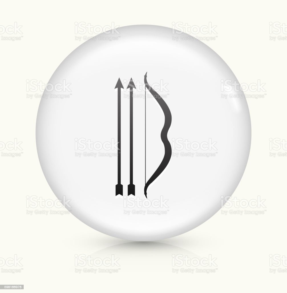 One Bow  Two Arrows icon on white round vector button vector art illustration