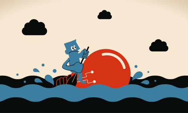 One brave businessman rowing idea light bulb boat sailing on the ocean vector art illustration
