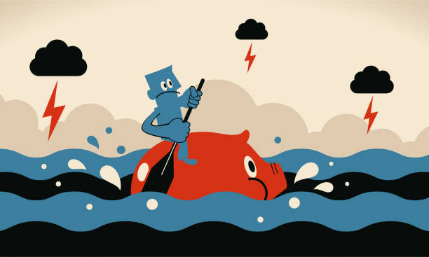One brave businessman rowing piggy bank sailing on the ocean in the bad economy vector art illustration