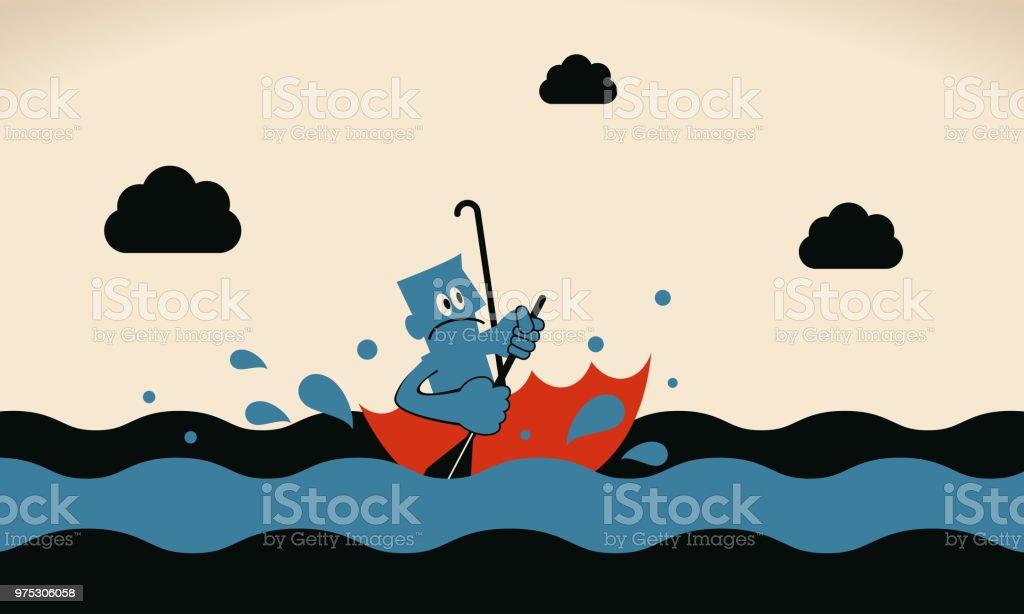 Eine mutige Geschäftsmann Rudern Regenschirm Boot Segeln auf dem Meer – Vektorgrafik