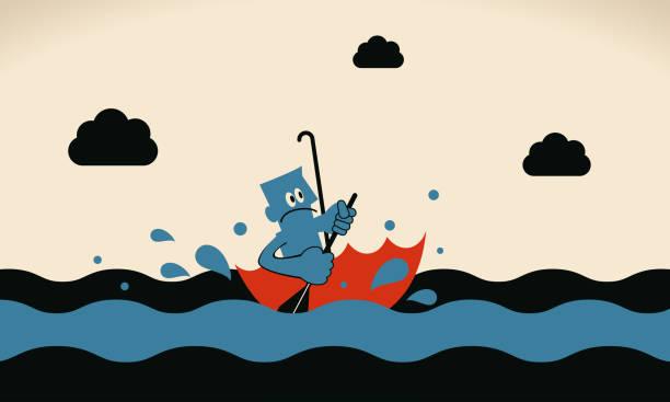 One brave businessman rowing umbrella boat sailing on the ocean vector art illustration