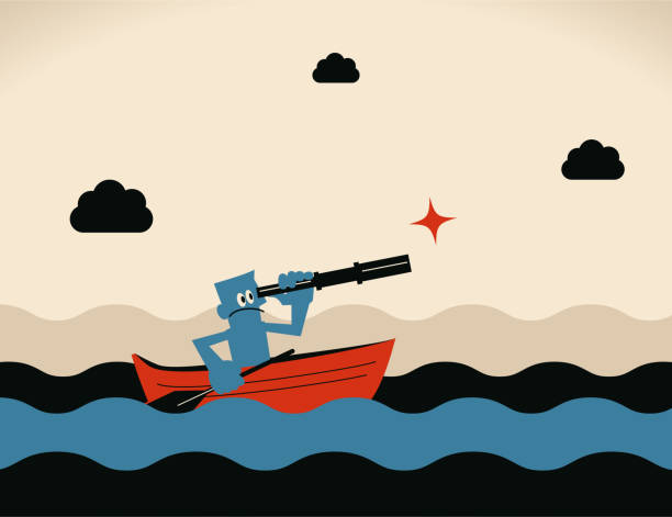One brave businessman with oar and hand-held telescope rowing boat sailing on the ocean vector art illustration