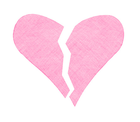 One Broken heart vector icon in pink and white color