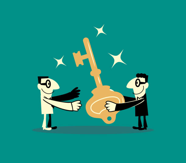 ein business-mann verleiht ein weiterer geschäftsmann einen großen schlüssel (lösung) - mann tür heimlich stock-grafiken, -clipart, -cartoons und -symbole