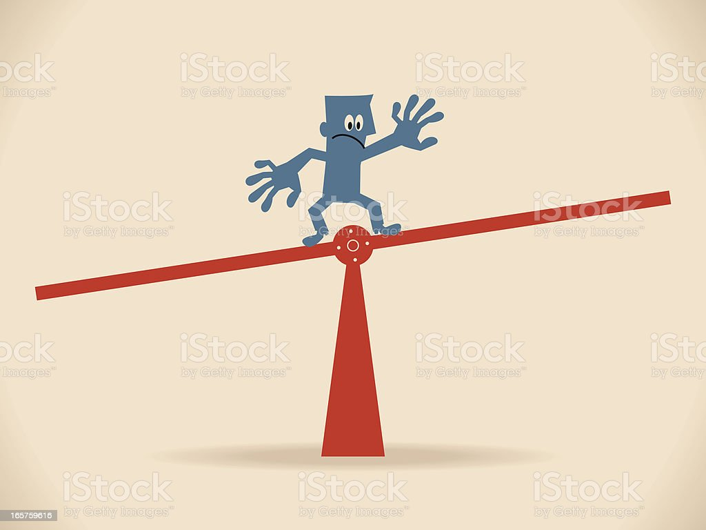 One business people (businessman) standing on seesaw and balancing vector art illustration