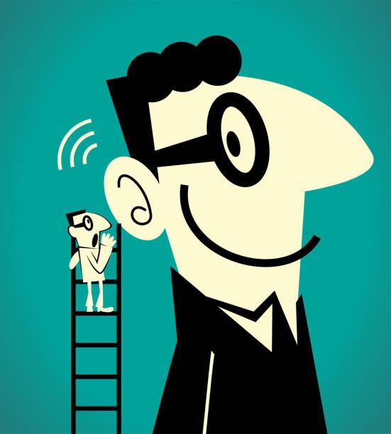 illustrazioni stock, clip art, cartoni animati e icone di tendenza di one businessman climbing up a ladder and whispering the message to a giant man - ear talking