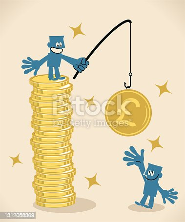 istock One businessman fishing on top of a stack of gold coins and baiting his hook with British Pound Currency to attract people 1312058369