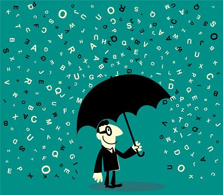 One businessman holding a umbrella avoiding a lot of falling alphabet
