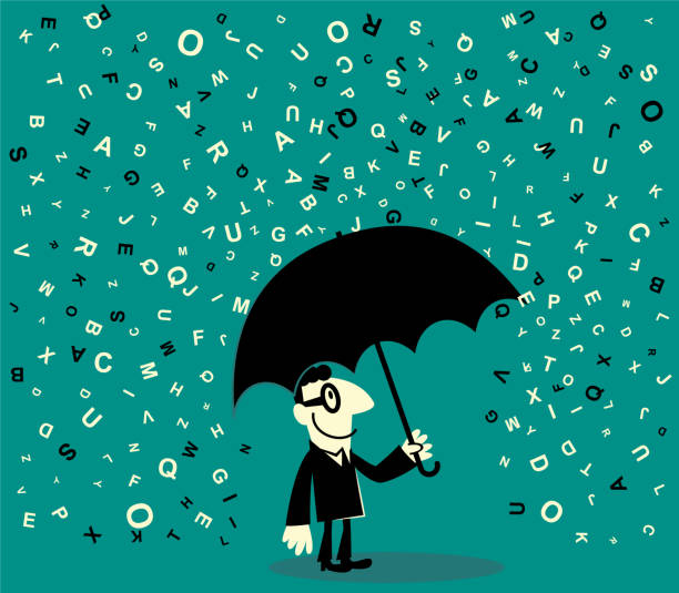 One businessman holding a umbrella avoiding a lot of falling alphabet vector art illustration