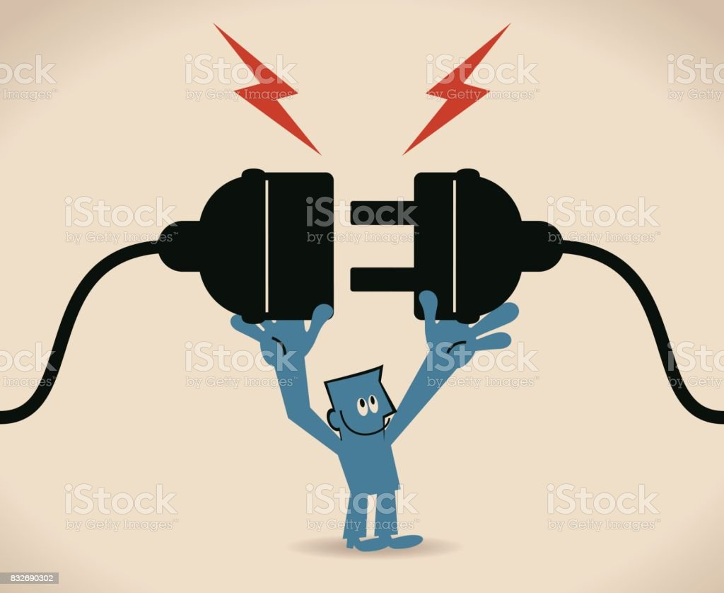 One businessman holding huge wired electrical plug and socket ready to establish connection vector art illustration