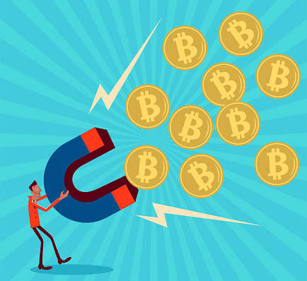 Businessman Characters Vector Art Illustration. One businessman holds a big magnet to attract Bitcoin.