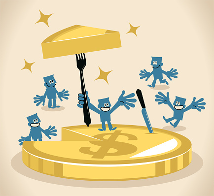 Blue Cartoon Characters Design Vector Art Illustration. One businessman inserting a fork into a slice of money cake (US Dollar Currency) and sharing it.