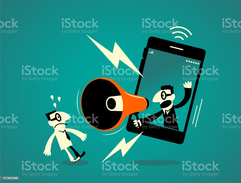One businessman inside of a smart phone (mobile phone) with megaphone, another business man getting a shock vector art illustration