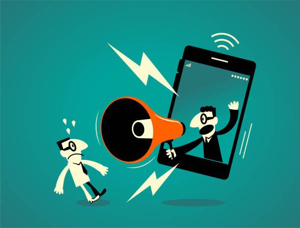 ilustrações de stock, clip art, desenhos animados e ícones de one businessman inside of a smart phone (mobile phone) with megaphone, another business man getting a shock - furioso