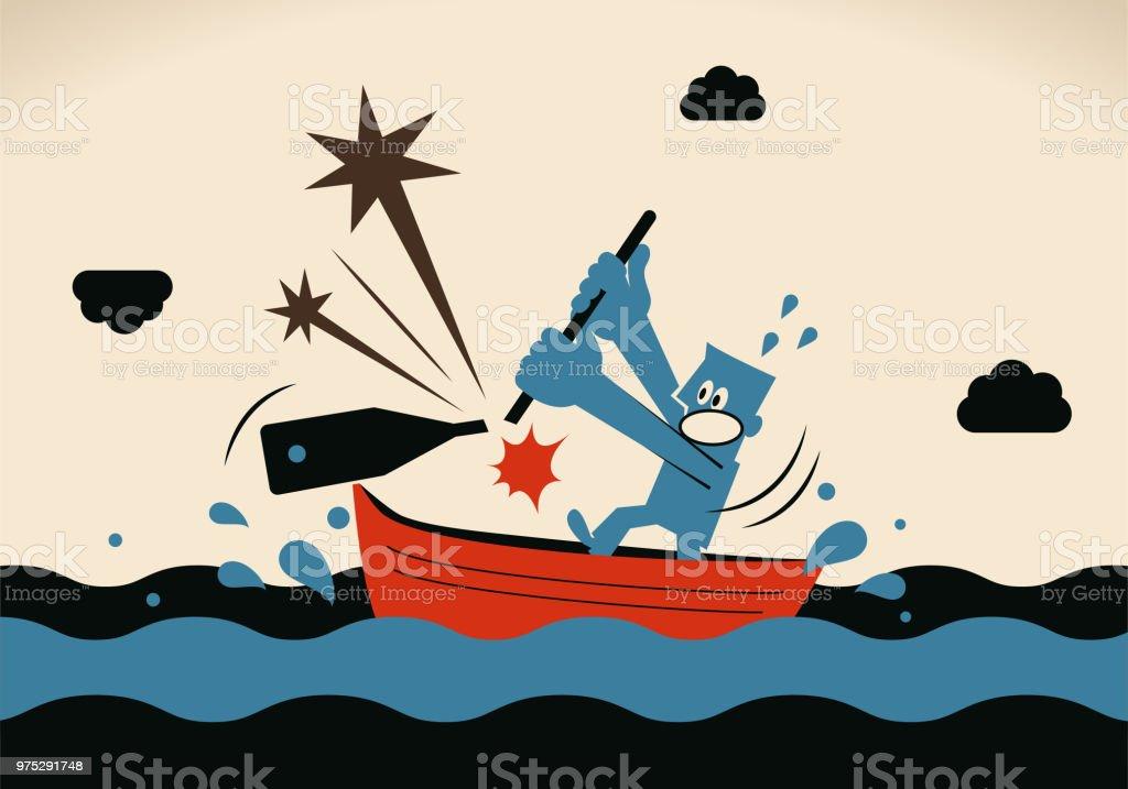 Ein Geschäftsmann, bricht Ruderboot Segeln auf dem Meer, seine Ruder – Vektorgrafik