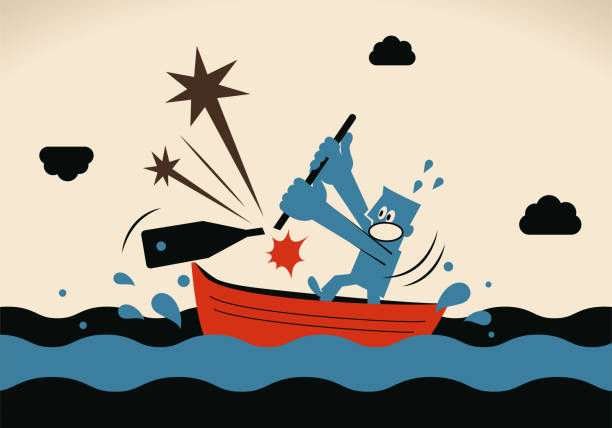 One businessman, rowing boat sailing on the ocean, his oar is breaking vector art illustration